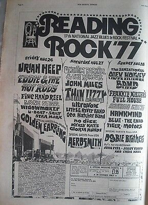 Aerosmith Thin Lizzy Alex Harvey Band Reading Festival uk 1977 advert - original