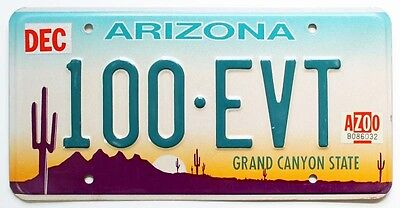 "Embossed Arizona 2000 ""Desert Sunset"" License Plate 100-EVT Cactus, Grand Canyon"