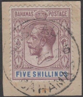 BAHAMAS KGV 1912-19 Issue 5 Shillings Scott 55  SG88 Used on Piece cv £70