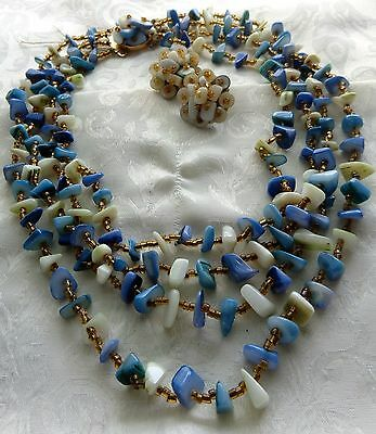 Art Deco Japan Hand Knotted Cluster Bead Abalone Shell Necklace & Earrings