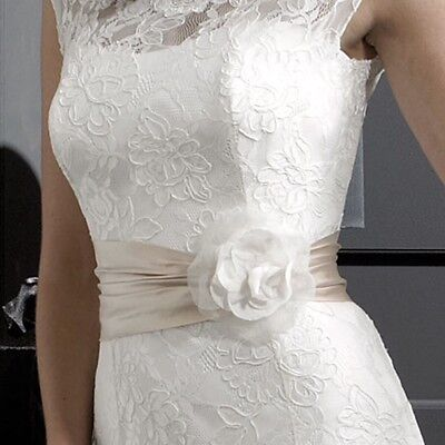 Nicola Anne Ivory Silk Flower Wedding dress Wide Sash Belt Bridal Accessories