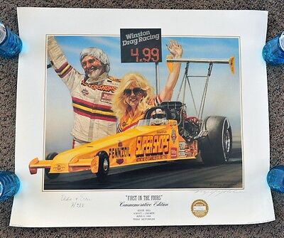 Kenny Youngblood Signed Lithograph First In The Fours Eddie Hill Ercie Dragster