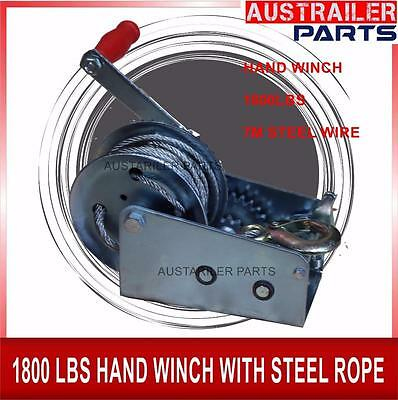 1800Lbs Hand Winch With Steel Wire 10M