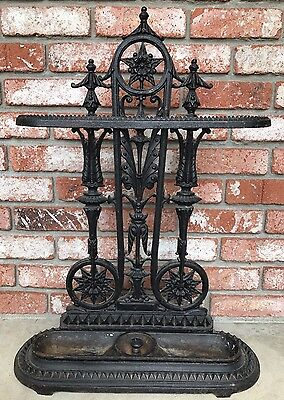 RARE Antique Vintage Victorian Cast Iron Ornate Umbrella Cane Stand Holder