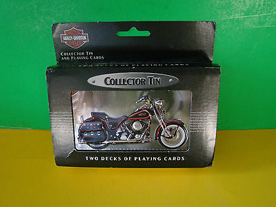 HARLEY DAVIDSON MotorCycles Bike Collector's Tin~Two Decks Playing Cards 1998