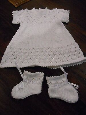 Newborn Baby's White Dress & Bootees. Size 0000. Hand Made With Love.