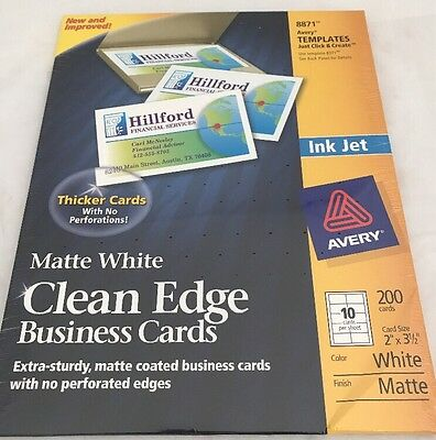200 Avery 8871 Clean Edge Matte White Business Cards Ink Jet Extra Sturdy