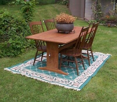 Vintage pine trestle table and chairs