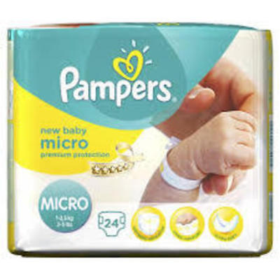 Pampers Micro Premature Baby NICU Nappies 1-2.5kg 2-5lb SAMPLE PACK 2 NAPPIES