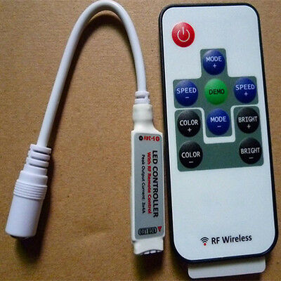 10 Keys IR Mini Remote Controller For 5050 3528 RGB LED Light Strip
