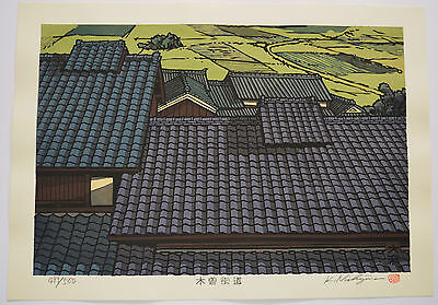 Large Limited Edition Signed Japanese Woodblock Print Katsuyuki Nishijima Roof
