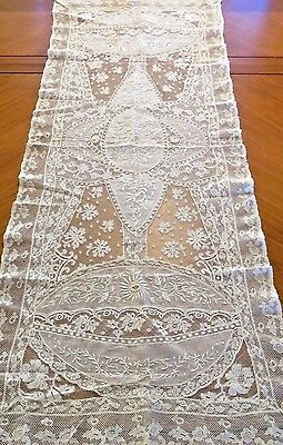 Antique Lace Runner French Normandy Embroidered Table Dresser Centerpiece Scarf