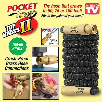 As Seen On TV 75 Ft. Pocket Hose Top Brass II Outdoor Collapsible Garden Hose