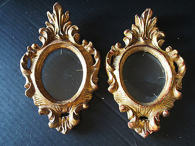 Pair (2) Antique Florentine CARVED Wood Gold Gilt Gothic Rococo Hang Wall Frame