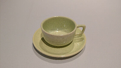 Vintage 1950-1962 Bauer Speckle Chartreuse Teacup and Saucer