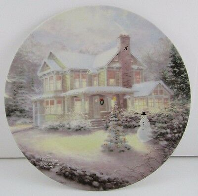 "Thomas Kinkade Decorative 9"" Plate Winter Christmas scene Maud Borup est. 1907"