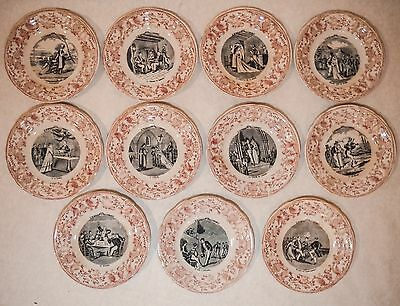 Antique French Plates Set~ Porcelaine Opaque De Gien ~ Un Mariage A La Campagne