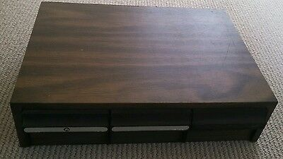 Vintage 42 audio cassette tape storage unit retro wood grain look