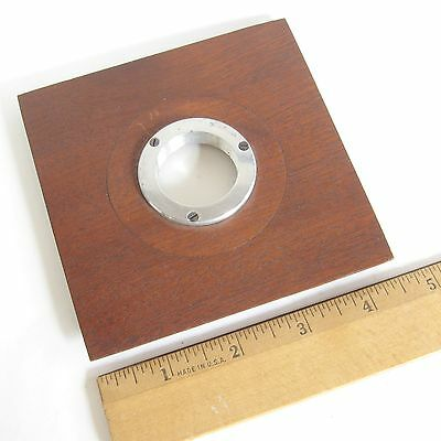 "Red Mahogany(?) 4.5"" x 4.5"" LENS BOARD for View Camera with 30mm diam.Lens Mount"