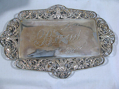 Antique TUFTS SILVERPLATE BREAD TRAY - CHERUBS & LIONS
