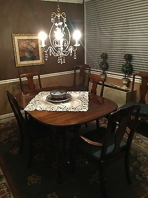 Harden Cherry dining room set with 6 chairs, 2 leafs and China cabinet.