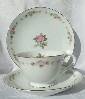 Vintage RC Japan Noritake 210 Pink Roses Tea cup Trio Japan