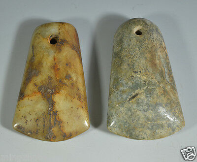 Wonderful Ancient Chinese Neolithic Nephrite Pair Of Jade Celts Axe Ax Adz