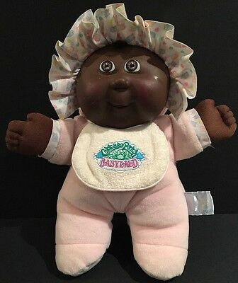 Vintage Cabbage Patch Babyland Plush Black Color Baby Doll with Pink PJ's