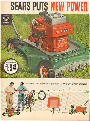 1957 Vintage ad for Sears Craftsman Rotary Mower` Art 2-pgs retro Red (050117)
