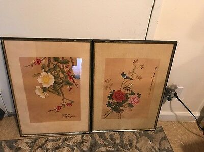 Pair Of Vintage Oriental Paintings Over Fabric Signed