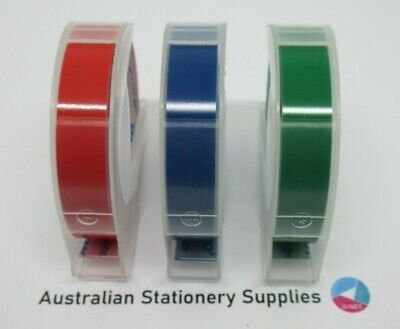 3 Dymo Xpress Embossing Tapes 9mm x 3M express 1 Red, 1 Blue & 1 Green in stock