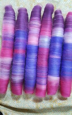 "106Gr Spinning Wool Silk Rolags ""price Drop!!!!  Felting Textiles  Fibre Craft"
