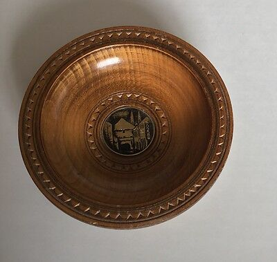 Vintage Croatia Wood Zagreb Hand Carved Wooden Bowl Decorative Wood Grain  5 X 5