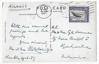 Aden 1957 airmail postcard to Indonesia Elephant Ceylon