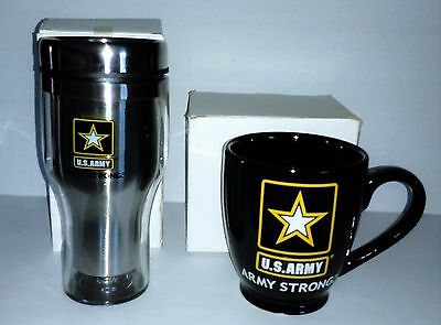 "NEW in Box Lot 2 U.S. Army - Army Strong Black Coffee Mug 4.5"" and Tumbler 7"""