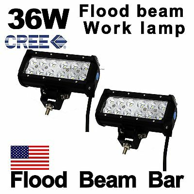 """2X 7"""" 36W Cree Led Work Light Bar Flood Offroad Driving for SUV Trailer Truck US"""