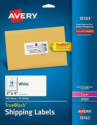 "NEW Avery 18163 Shipping Labels 2"" x 4""  100 Labels"