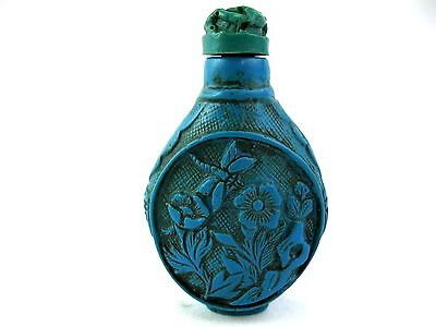 Vintage Chinese Blue Turquoise Carved Snuff Bottle Dragonfly and Flowers