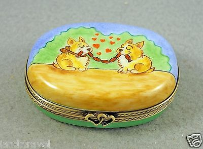 New Hand Painted Authentic French Limoges Trinket Box Cute Dog Puppies W Sausage