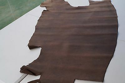 Distressed brown cowhide piece/remnant 130 x 90 cm Full grain leather