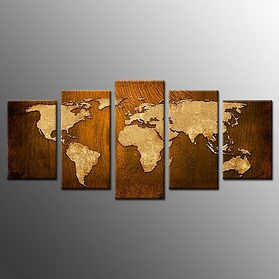 FRAMED Vintage World Map Canvas Painting Print Wall Art For Home Room Decor-5pcs