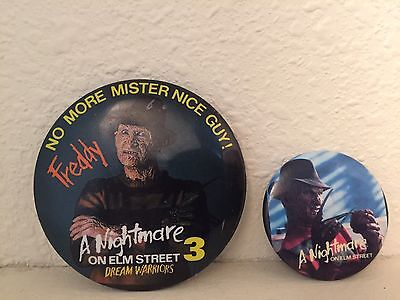 A Nightmare On Elm St Promo Buttons 80's Freddy Krueger Rare