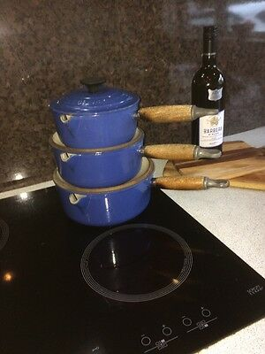 Well Used Untidy  3 Piece Le Creuset Blue Saucepan Set 16/18/20 cm pans