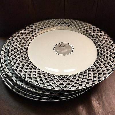 "(4) Ciroa Luxe Silver Diamond Metallic Dinner Plates 11"" ~NEW ~"