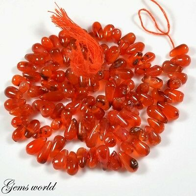 """170 Ct.red~Moon Natural Red Carnelian Teardrops Loose Gemstone Beads 13""""a 8881"""
