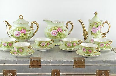Vintage Lefton Heritage Green Tea & Coffee Set 15 Piece Hand Painted with Roses