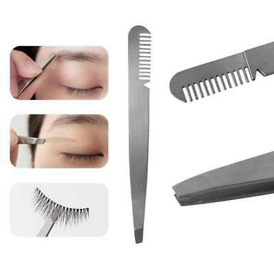 Professional Eyebrow Tweezer with Comb Stainless Steel Brush Nipper Tools