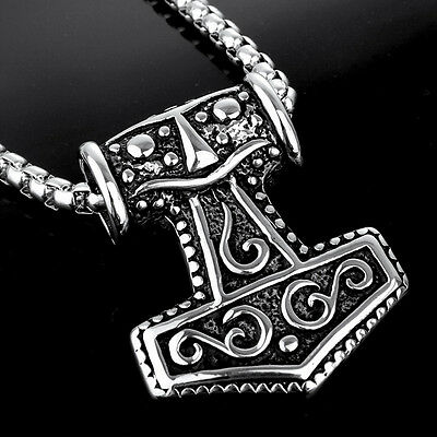Men's 316L Stainless Steel Pendant Thor's Hammer Mjolnir Necklace Chain Jewelry