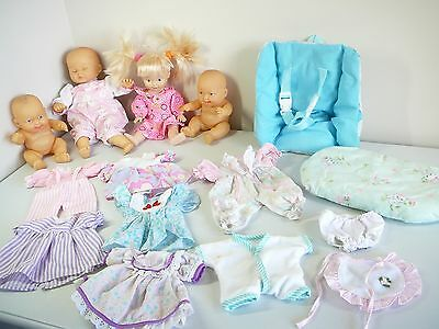 BABY DOLLS SMALL + MEDIUM  bulk lot + dolls CLOTHING + ACCESSORIES CAR SEAT ++
