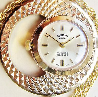 Superb Vintage Swiss Ladies Gold Plated Medana 17 Jewels Necklace Watch VGC
